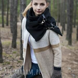 ręcznie wykonane szaliki szalik szal wełniany ze skórą - czarny