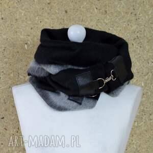 ciepły szaliki szal wełniany ze skórą - czarny