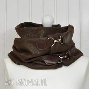 oryginalne szaliki chusta szal wełniany ze skórą,