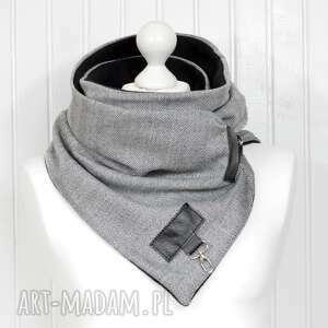 hand made szaliki szal wełniany w jodełkę ze skórą