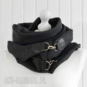 wyraziste szaliki chusta szal wełniany ze skórą, brokatowa