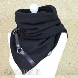 szaliki szalik szal wełniany ze skórą - czarny