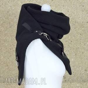 szaliki: Szal wełniany ze skórą - czarny rockowy, komin skora