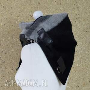 szare szaliki szal wełniany ze skórą - czarny