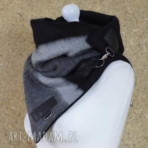 szare szaliki szal wełniany ze skórą, komin