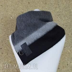 czarne szaliki szal wełniany ze skórą, komin