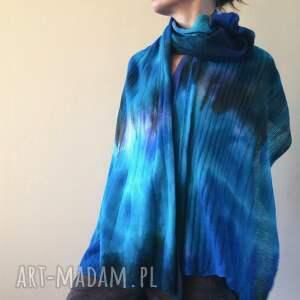 niebieskie szaliki wełna szal wełniany