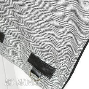 komin szaliki szal wełniany w jodełkę ze skórą