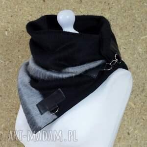niekonwencjonalne szaliki ciepły szal wełniany ze skórą - czarny