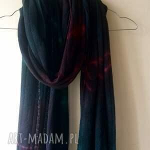 handmade szaliki prezent unikatowy, ręcznie barwiony szal z wysokiej