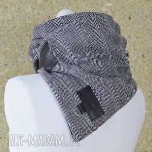 szare szaliki szalik szal wzorzysta wełna ze skórą