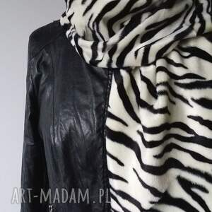 hand made szaliki szal z futra zebra