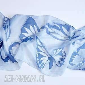 unikalne szaliki niebieskiemotyle malowany jedwabny szal -niebieskie
