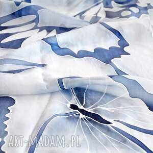 niebieskiemotyle szaliki malowany jedwabny szal -niebieskie