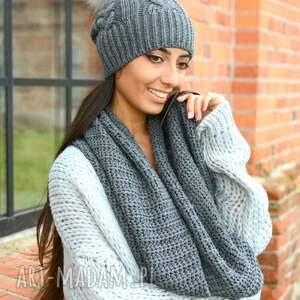 szaliki w warkocze szary komplet zimowy damski, czapka