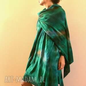 ręcznie robione szaliki dzianina unikatowy, barwiony szal z jagnięcej