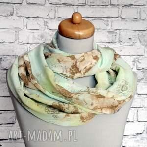 beżowe szaliki szalik szyfonowy subtelny szal komin