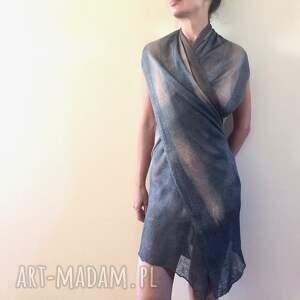 szaliki: Unikatowy ręcznie barwiony lniany szal - elegancki len