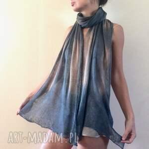 szaliki: Unikatowy ręcznie barwiony lniany szal - elegancki