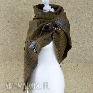 zielone szaliki chusta wełna z jedwabiem, chusta, ponczo