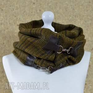 szal szaliki brązowe wełna z jedwabiem, chusta, ponczo