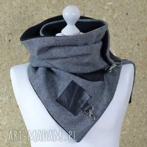ręcznie wykonane szaliki szal wełniany ciepły ze skórą