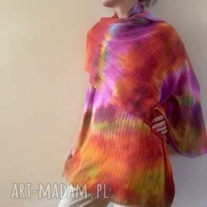 hand made szaliki szal wełniany ręcznie barwiony