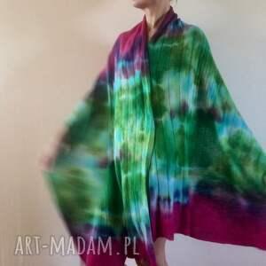 wełniany szaliki unikatowy, ręcznie barwiony szal z wysokiej