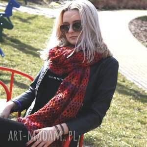 czerwone szaliki szal wielki ażurowy