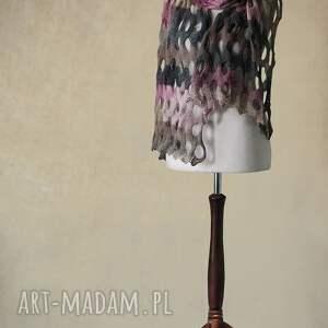 szaliki knitwearfactory wielokolorowy ażurowy szal