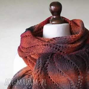 szaliki wełna wielokolorowy ażurowy szal z wełny