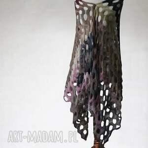 fioletowe szaliki ażurowy wielokolorowy szal