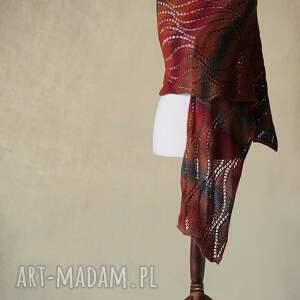 szaliki szal wielokolorowy ażurowy z wełny