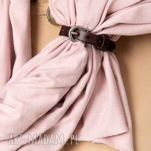 różowe szaliki szal wiosenny bawełniany z zapinką