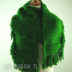 oryginalne szaliki szal zielony z frędzlami