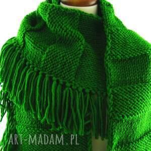 szalik szaliki zielony szal z frędzlami