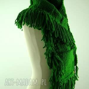 szaliki szalik zielony szal z frędzlami