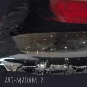 czerwone dekoracja nowoczesna patera szklana wykonana ręcznie
