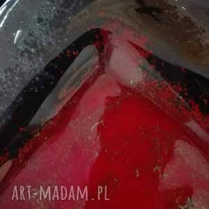 wyjątkowe szkło dekoracja patera szklana mała czerwona