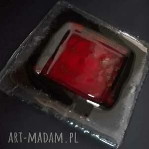 wyjątkowe szkło patera szklana mała czerwona