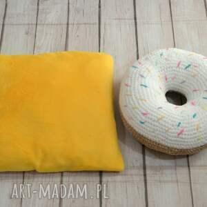 beżowe donut szydełkowa poduszka pączek- zero