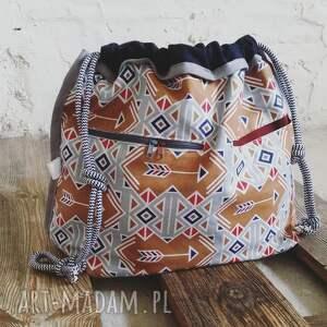 eleganckie sportowe tashpack szary & amber aztec / tkaninowe torby