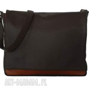 hand made teczki modne 35-0006 ciemnobrązowa torebka