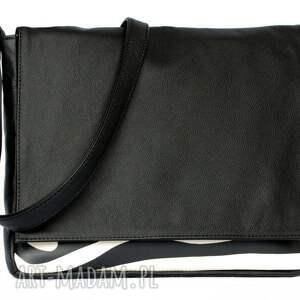 białe teczki modne 35-0004 czarna torebka aktówka