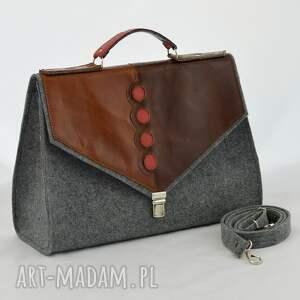hand-made teczki filc duża filcowa torebka na ramię, do