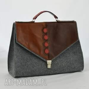 kuferek teczki duża filcowa torebka na ramię, do