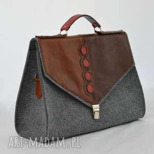 brązowe teczki filc duża filcowa torebka na ramię, do