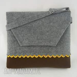 ręcznie zrobione teczki filc filcowa torebka a4 - szara