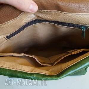 frapujące teczki torba plecak / skóra zielona pull