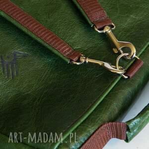 brązowe teczki naturalna plecak / torba skóra zielona pull